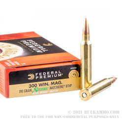 200 Rounds of .300 Win Mag Ammo by Federal Gold Medal - 190gr MatchKing HPBT