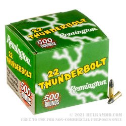 500  Rounds of .22 LR Ammo by Remington Thunderbolt - 40gr LRN