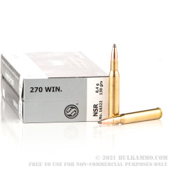 20 Rounds of .270 Win Ammo by Sellier & Bellot - 130gr Nosler Partition