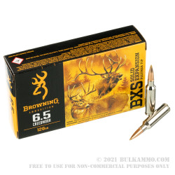 20 Rounds of 6.5 Creedmoor Ammo by Browning BXS - 120gr Solid Expansion