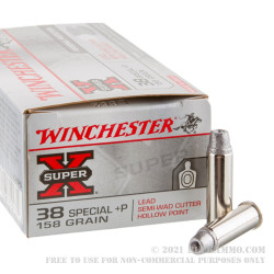 50 Rounds of .38 Spl Ammo by Winchester Super-X - +P 158gr Lead Wadcutter