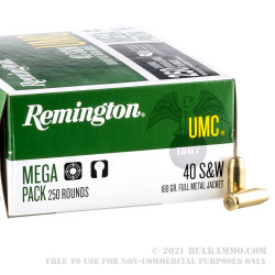 250 Rounds of .40 S&W Ammo by Remington - 180gr MC