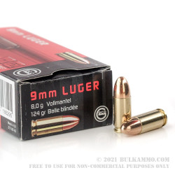 50 Rounds of 9mm Ammo by GECO - 124gr FMJ