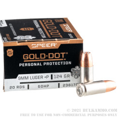 200 Rounds of 9mm +P Ammo by Speer Gold Dot - 124gr JHP