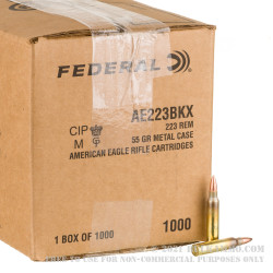 1000 Rounds of .223 Ammo by Federal American Eagle - 55gr FMJBT