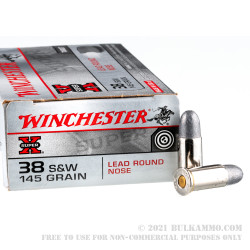 50 Rounds of .38 S&W Ammo by Winchester Super-X - 145gr LRN