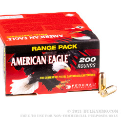 200 Rounds of 40 S&W Ammo by Federal American Eagle - 180gr FMJ