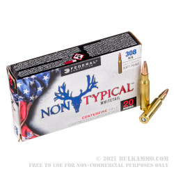200 Rounds of .308 Win Ammo by Federal Non-Typical Whitetail - 180gr SP