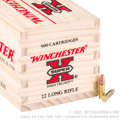 500 Rounds of .22 LR Ammo by Winchester - 36gr CPHP HV in Wooden Box