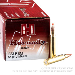 50 Rounds of .223 Ammo by Hornady - 55gr V-Max
