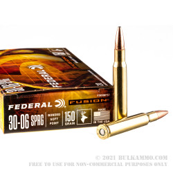 20 Rounds of 30-06 Springfield Ammo by Federal Fusion - 150gr Bonded SP