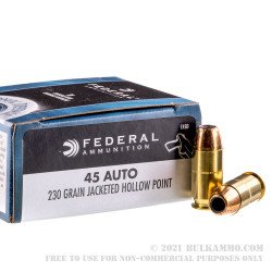 20 Rounds of .45 ACP Ammo by Federal Personal Defense - 230gr JHP