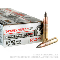 200 Rounds of .300 AAC Blackout Ammo by Winchester Deer Season XP - 150gr Extreme Point