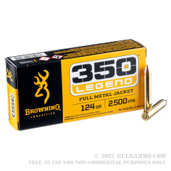 20 Rounds of .350 Legend Ammo by Browning - 124gr FMJ