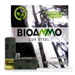 250 Rounds of 12ga Ammo by BioAmmo Lux Steel - 1-3/16 ounce #5 shot