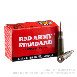 20 Rounds of 5.45x39 Ammo by Red Army Standard - 59gr FMJ