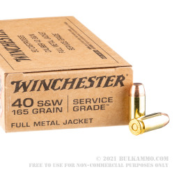 500 Rounds of .40 S&W Ammo by Winchester Service Grade - 165gr FMJ