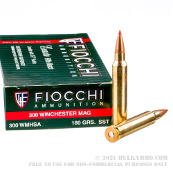 20 Rounds of .300 Win Mag Ammo by Fiocchi - 180gr SST