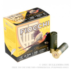 250 Rounds of 12ga Ammo by Fiocchi Golden Pheasant - 1 3/8 ounce #5 nickel plated lead shot