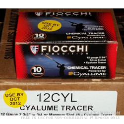 100 Rounds of 12ga Tracer Ammo by Fiocchi - 3/4 ounce #8 shot