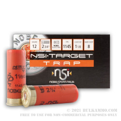 250 Rounds of 12ga Ammo by NobelSport - 1 1/8 ounce #8 shot