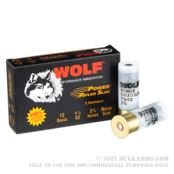 5 Rounds of Low Recoil 12ga Ammo by Wolf - 1 ounce Rifled Slug