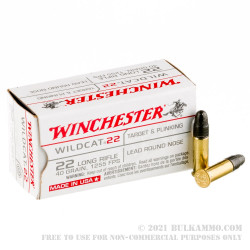 50 Rounds of .22 LR Ammo by Winchester Wildcat - 40gr LRN