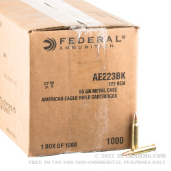 1000 Rounds of .223 Ammo by Federal American Eagle  - 55gr FMJ