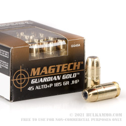 20 Rounds of .45 ACP +P Ammo by Magtech - 185gr JHP