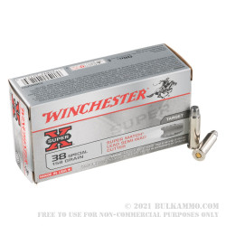 50 Rounds of .38 Spl Ammo by Winchester Super-X - 158gr LSWC