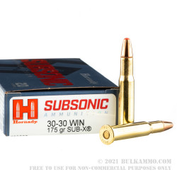20 Rounds of 30-30 Win Ammo by Hornady Subsonic - 175gr Sub-X
