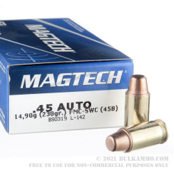 50 Rounds of .45 ACP Ammo by Magtech - 230gr FMJ SWC