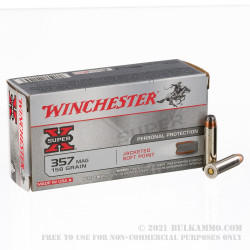 50 Rounds of .357 Mag Ammo by Winchester Super-X - 158gr JSP