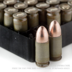 500  Rounds of 9mm Ammo by Brown Bear (Steel Casing) - 115gr FMJ