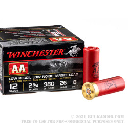 250 Rounds of Low Recoil 12ga Ammo by Winchester AA Low Recoil/Low Noise - 7/8 ounce #8 shot