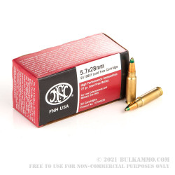 500 Rounds of 5.7x28 mm Ammo by FN Herstal - 27gr Lead Free JHP