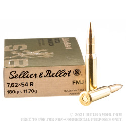 400 Rounds of 7.62x54r Ammo by Sellier & Bellot - 180gr FMJ