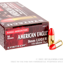 50 Rounds of 9mm Ammo by Federal Syntech - 115gr Total Synthetic Jacket