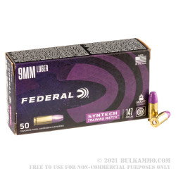 500 Rounds of 9mm Ammo by Federal Syntech Training Match - 147gr Total Synthetic Jacket FN