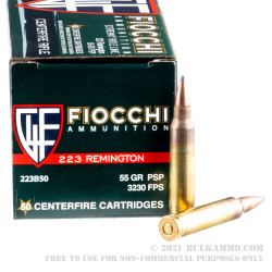 500 Rounds of .223 Rem Ammo by Fiocchi - 55gr PSP