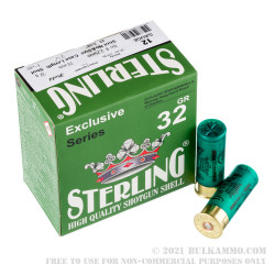 250 Rounds of 12ga Ammo by Sterling - 1-1/8 ounce #8 shot