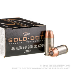 20 Rounds of .45 ACP Ammo by Speer Gold Dot - +P 200gr JHP