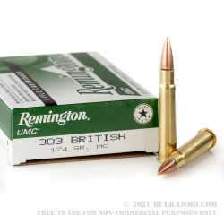 20 Rounds of .303 British Ammo by Remington UMC - 174gr MC