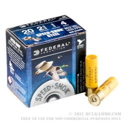 """25 Rounds of 20ga Ammo by Federal Speed-Shok - 2-3/4"""" 3/4 ounce #4 shot"""