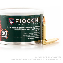 1000 Rounds of .223 Canned Heat Ammo by Fiocchi - 55gr FMJBT