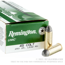 50 Rounds of .45 Long-Colt Ammo by Remington UMC - 250gr LRN