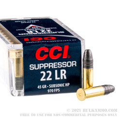 5000 Rounds of .22 LR Ammo by CCI Suppressor - 45gr LHP