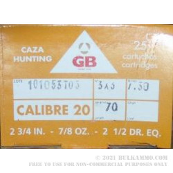 25 Rounds of 20ga Ammo by GB -  00 Buck