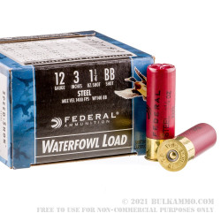 """250 Rounds of 12ga Ammo by Federal Speed-Shok - 3"""" 1 1/4 ounce #BB Shot"""