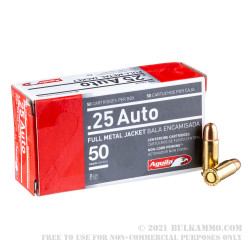 50 Rounds of .25 ACP Ammo by Aguila - 50gr FMJ